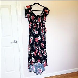Torrid off the shoulder black floral wrap dress